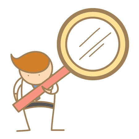 cartoon character of  man searching using magnifyer Stock Photo - 17389461