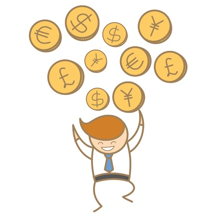 cartoon character of  man happy trading various currency Stock Photo