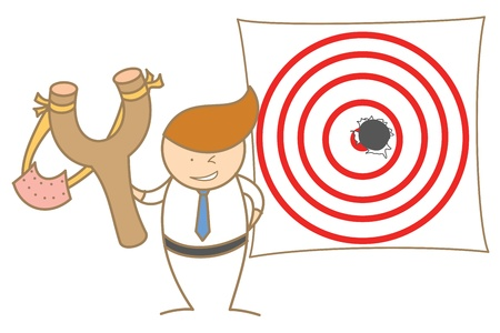 cartoon character of  man shot a hole on target Stock Photo - 17389526