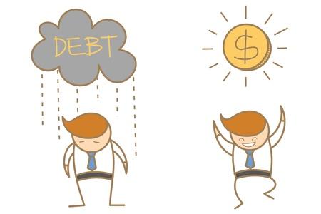 cartoon character of  man sad under dark could and happy under sunny dollar Stock Photo - 17389468