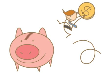 cartoon character of  man jumping to save money Stock Photo - 17389445