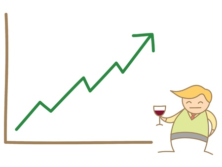 bussiness man happy graph up Stock Photo - 17389393