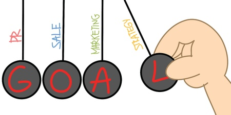 pendulum drawing of factor to reach goal Stock Photo