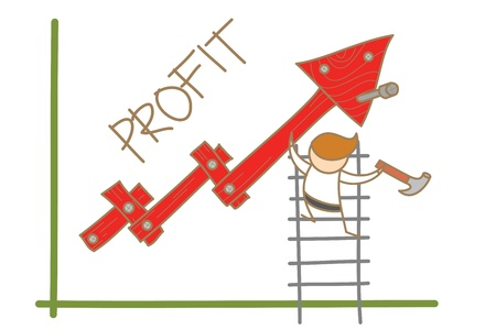 cartoon character of  man building profit up graph Stock Photo - 17389513