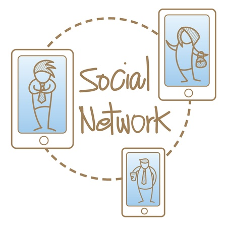 cartoon character of people on social network Stock Photo - 17389530