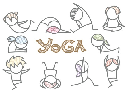 set of cartoon yoga line art photo