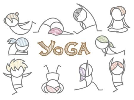 set of cartoon yoga line art Stock Photo - 17389549