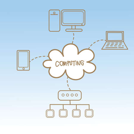 cartoon drawing of cloud computing concept photo