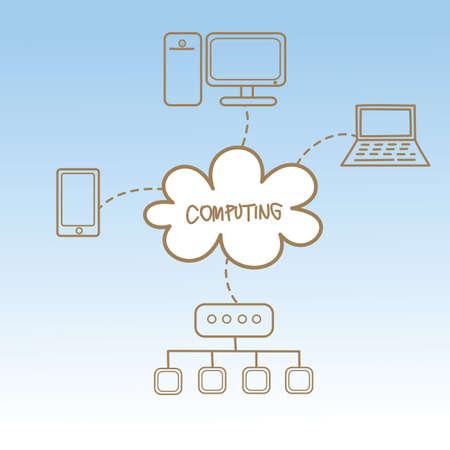 clouding: cartoon drawing of cloud computing concept