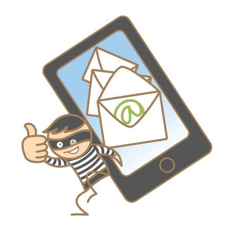 theif: cartoon character of burglar getting mobile data Stock Photo
