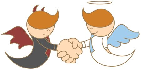 cartoon character of angel and devil shaking hand