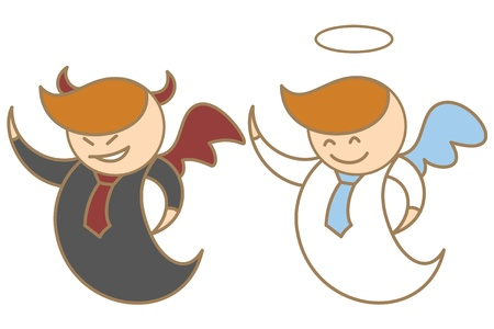 devil and angel: cartoon character of angel and devil