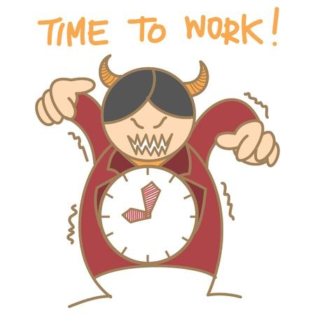 annoy: cartoon character of red devil clock boss Illustration