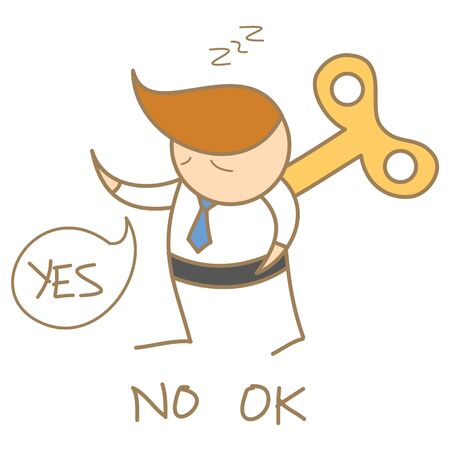 windup: cartoon character of business man wind-up saying yes no ok