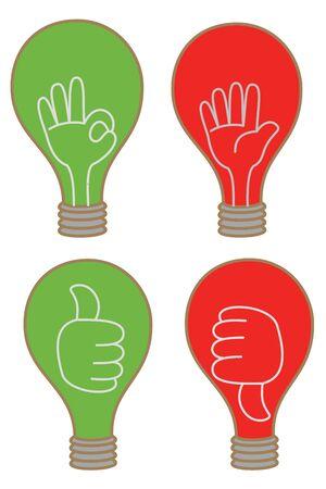 cartoon drawing of bulb display like unlike stop OK icon Stock Vector - 17414685