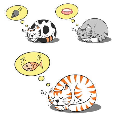 dreaming: cats sleeping and dreaming for their food