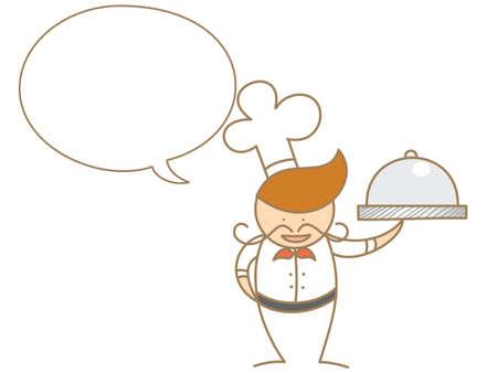 cute cartoon chef talking in bubble Stock Vector - 17414737