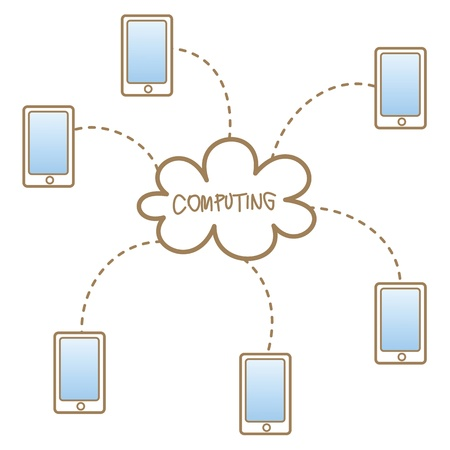 cartoon drawing of mobile accessing to cloud computing system Vector