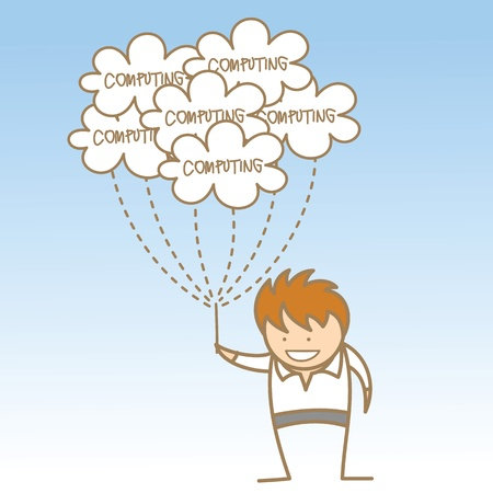 syncing: cartoon character of man holding cloud computing