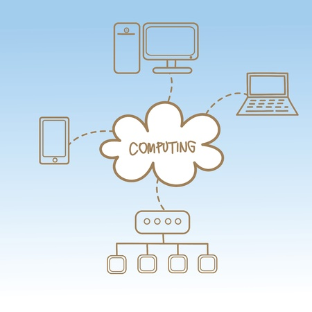 cartoon drawing of cloud computing concept Stock Vector - 17414682