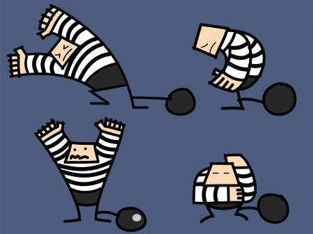 man in jail: set of burglar  Illustration
