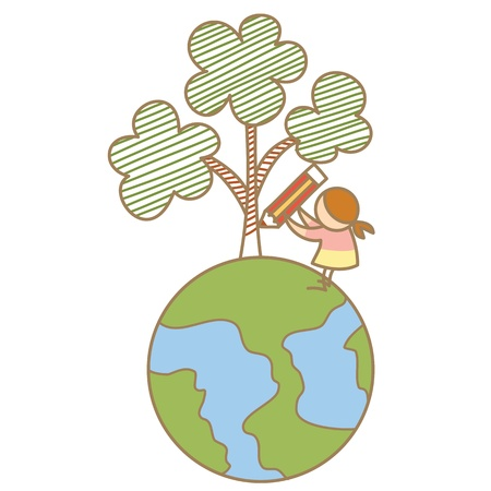 girl draw tree on earth Vector