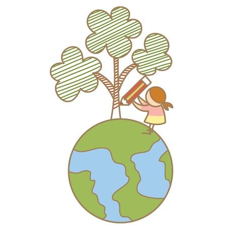 girl draw tree on earth Stock Vector - 17414477