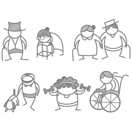 Satz von älteren älteren Menschen Vektorgrafik