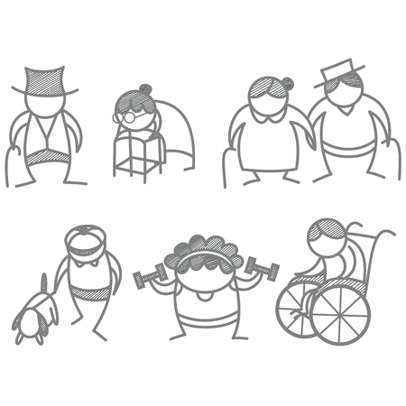 set of elder aging people Vector