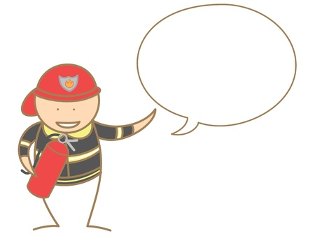 fire fighter talking in bubble Vector