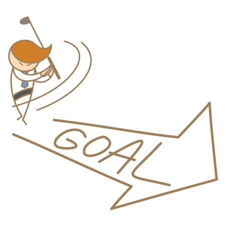 cartoon character of business man swing to goal