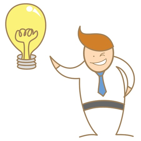 goed idee: stripfiguur van zakenman te krijgen goed idee Stock Illustratie