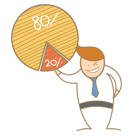 cartoon character of  man taking piece of pie Illustration