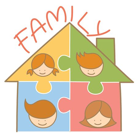 cartoon character of family jigsaw house Vector