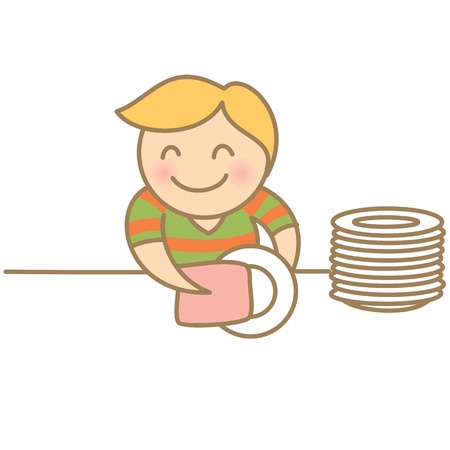 Kid drying dishes Vector