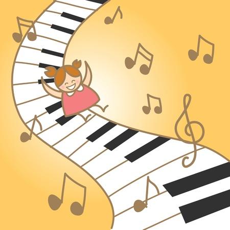 chica alegr�a su piano musical fantasry