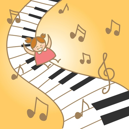 girl joy her fantasry musical piano Illustration