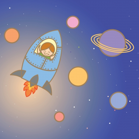 kid enjoy space ship Vector
