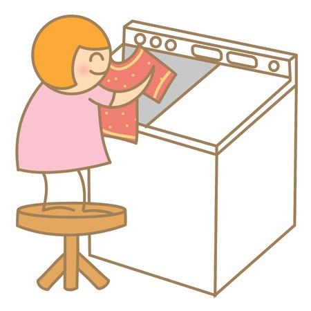 washer machine: Kid help laundry Illustration