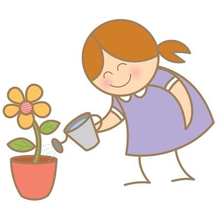 girl watering flower plant Stock Vector - 17414481