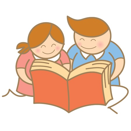kids reading open book Stock Vector - 17414473