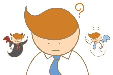 personaje de dibujos animados de angel hombre de pensamiento y la mente diablo