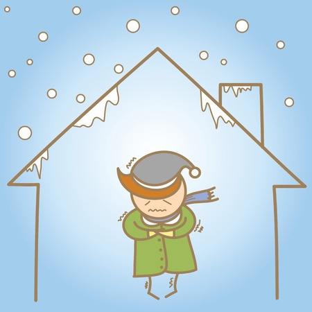 cartoon character of man in the cold house Vector