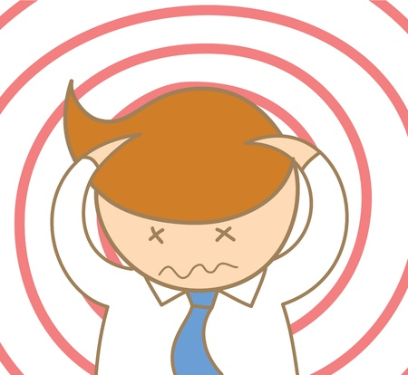 headache: cartoon character of business man headache and confusing Illustration
