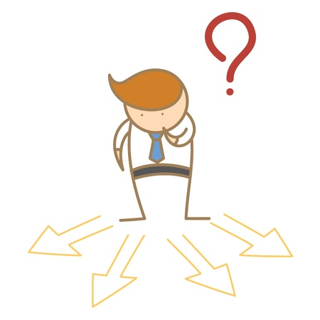 which: cartoon character of business man confusing which direction to go