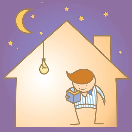cartoon character of man in the warm and light house Stock Vector - 17414623