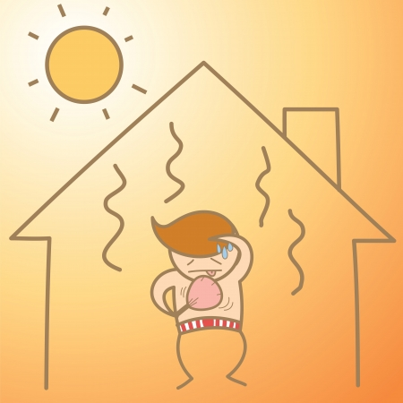 cartoon character of man in the heat house Stock Vector - 17414621