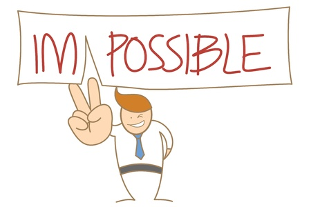 cartoon character of  man cut out impossible word