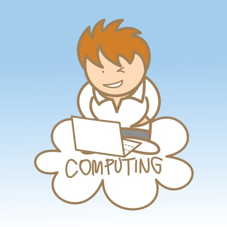clouding: cartoon character of man sit on cloud computing