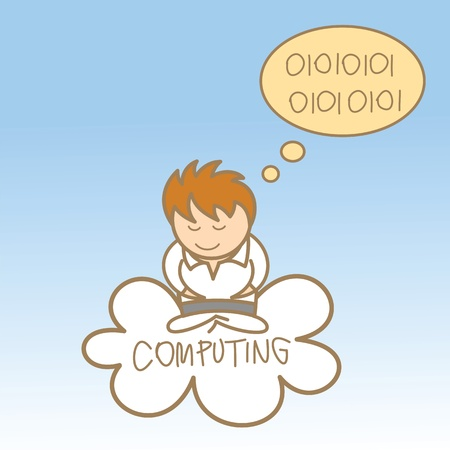 syncing: cartoon character of man sit on cloud computing